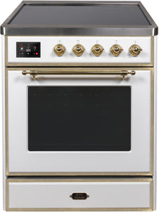 "ILVE 30"" Majestic II Series Electric Induction and Electric Oven Range with 4 Elements in White with Brass Trim, UMI30NE3WHG"
