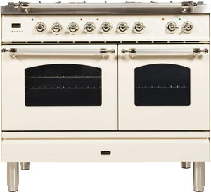 "ILVE 40"" Nostalgie Series Natural Gas Burner and Electric Oven Range in Antique White with Chrome Trim, UPDN100FDMPAXNG"