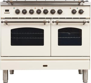 "ILVE 40"" Nostalgie Series Double Oven Propane Gas Burner and Electric Oven Range in Antique White with Bronze Trim, UPDN100FDMPAYLP"