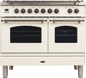 "ILVE 40"" Nostalgie Series Double Oven Natural Gas Burner and Electric Oven Range in Antique White with Bronze Trim, UPDN100FDMPAYNG"