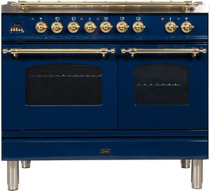"ILVE 40"" Nostalgie Series Double Oven Natural Gas Burner and Electric Oven Range in Midnight Blue with Brass Trim, UPDN100FDMPBLNG"