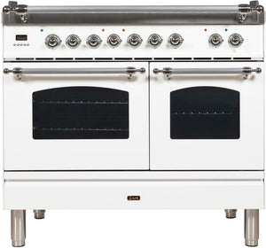 "ILVE 40"" Nostalgie Series Double Oven Natural Gas Burner and Electric Oven Range in White with Chrome Trim, UPDN100FDMPBXNG"