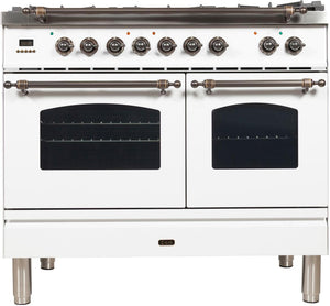 "ILVE 40"" Nostalgie Series Double Oven Natural Gas Burner and Electric Oven Range in White with Bronze Trim, UPDN100FDMPBYNG"