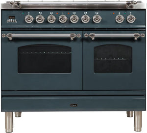 "ILVE 40"" Nostalgie Series Double Oven Natural Gas Burner and Electric Oven Range in Blue Grey with Chrome Trim, UPDN100FDMPGUX"