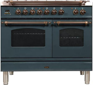 "ILVE 40"" Nostalgie Series Double Oven Natural Gas Burner and Electric Oven Range in Blue Grey with Bronze Trim, UPDN100FDMPGUY"