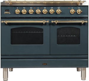 "ILVE 40"" Nostalgie Series Double Oven Natural Gas Burner and Electric Oven Range in Blue Grey with Brass Trim, UPDN100FDMPGU"