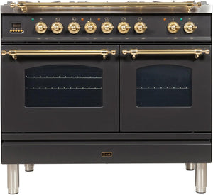 "ILVE 40"" Nostalgie Series Double Oven Natural Gas Burner and Electric Oven Range in Matte Graphite with Bronze Trim, UPDN100FDMPMYNG"