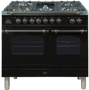 "ILVE 40"" Nostalgie Series Double Oven Propane Gas Burner and Electric Oven Range in Glossy Black with Bronze Trim, UPDN100FDMPNYLP"