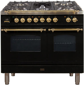 "ILVE 40"" Nostalgie Series Double Oven Natural Gas Burner and Electric Oven Range in Glossy Black with Brass Trim, UPDN100FDMPNNG"