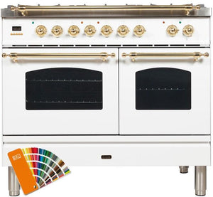 "ILVE 40"" Nostalgie Series Double Oven Natural Gas Burner and Electric Oven Range in RAL Color with Brass Trim, UPDN100FDMPRAL"