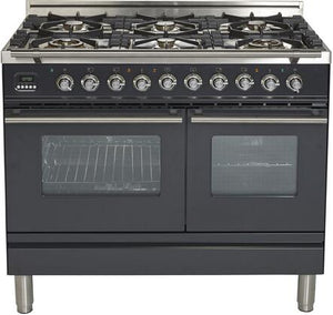 "ILVE 40"" Professional Plus Series Double Oven Natural Gas Burner and Electric Oven Range in Matte Graphite with Chrome Trim, UPDW1006DMPMNG"