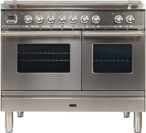 "ILVE 36"" Professional Plus Series Single Oven Propane Gas Burner and Electric Oven Range in Stainless Steel with Chrome Trim, UPDW100FDMPILP"