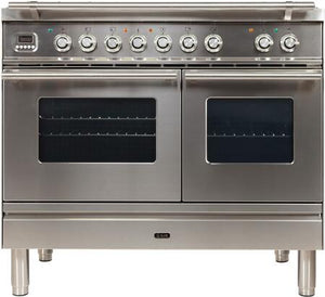 "ILVE 40"" Professional Plus Series Double Oven Natural Gas Burner and Electric Oven Range in Stainless Steel with Chrome Trim, UPDW100FDMPING"