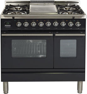 "ILVE 36"" Professional Plus Series Double Oven Propane Gas Burner and Electric Oven Range in Matte Graphite with Chrome Trim, UPDW90FDMPMLP"