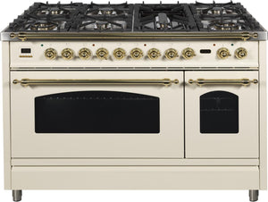 "ILVE 48"" Nostalgie Series Double Oven Propane Gas Burner and Electric Oven Range in Antique White with Brass Trim, UPN120FDMPALP"