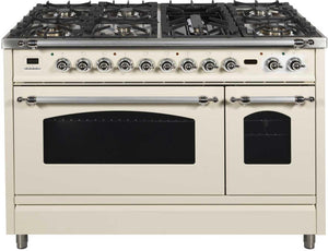 "ILVE 48"" Nostalgie Series Double Oven Propane Gas Burner and Electric Oven Range in Antique White with Chrome Trim, UPN120FDMPAXLP"