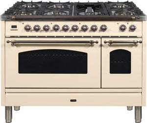 "ILVE 48"" Nostalgie Series Double Oven Propane Gas Burner and Electric Oven Range in Antique White with Bronze Trim, UPN120FDMPAYLP"