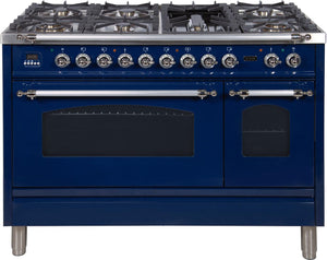 "ILVE 48"" Nostalgie Series Double Oven Natural Gas Burner and Electric Oven Range in Blue with Chrome Trim, UPN120FDMPBLXNG"