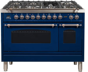 "ILVE 48"" Nostalgie Series Double Oven Natural Gas Burner and Electric Oven Range in Midnight Blue with Bronze Trim, UPN120FDMPBLYNG"
