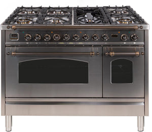 "ILVE 48"" Nostalgie Series Double Oven Propane Gas Burner and Electric Oven Range in Stainless Steel with Bronze Trim, UPN120FDMPIYLP"