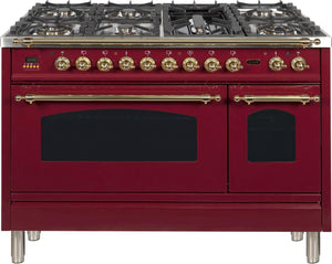 "ILVE 48"" Nostalgie Series Double Oven Propane Gas Burner and Electric Oven Range in Burgundy with Brass Trim, UPN120FDMPRBLP"