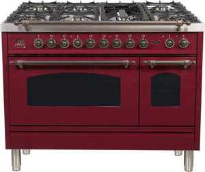 "ILVE 48"" Nostalgie Series Double Oven Natural Gas Burner and Electric Oven Range in Burgundy with Bronze Trim, UPN120FDMPRBYNG"