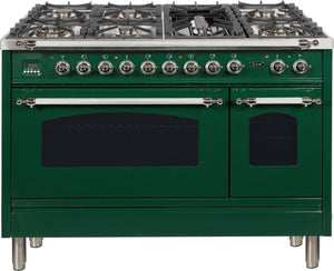 "ILVE 48"" Nostalgie Series Double Oven Propane Gas Burner and Electric Oven Range in Emerald Green with Chrome Trim, UPN120FDMPVSXLP"