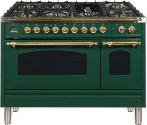 "ILVE 48"" Nostalgie Series Double Oven Natural Gas Burner and Electric Oven Range in Emerald Green with Brass Trim, UPN120FDMPVSNG"