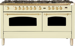 "ILVE 60"" Nostalgie Series Double Oven Propane Gas Burner and Electric Oven Range in Antique White  with Brass Trim, UPN150FDMPALP"