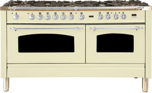 "ILVE 60"" Nostalgie Series Double Oven Propane Gas Burner and Electric Oven Range in Antique White with Chrome Trim, UPN150FDMPAXLP"