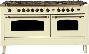 "ILVE 60"" Nostalgie Series Double Oven Propane Gas Burner and Electric Oven Range in Antique White with Bronze Trim, UPN150FDMPAYLP"