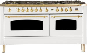 "ILVE 60"" Nostalgie Series Double Oven Propane Gas Burner and Electric Oven Range in White with Brass Trim, UPN150FDMPBLP"