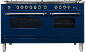 "ILVE 60"" Nostalgie Series Double Oven Propane Gas Burner and Electric Oven Range in Blue with Chrome Trim, UPN150FDMPBLXLP"