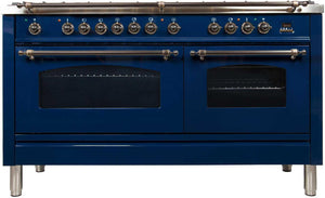 "ILVE 60"" Nostalgie Series Double Oven Propane Gas Burner and Electric Oven Range in Blue with Bronze Trim, UPN150FDMPBLYLP"