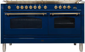 "ILVE 60"" Nostalgie Series Double Oven Natural Gas Burner and Electric Oven Range in Blue with Brass Trim, UPN150FDMPBLNG"