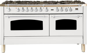 "ILVE 60"" Nostalgie Series Double Oven Propane Gas Burner and Electric Oven Range in White with Chrome Trim, UPN150FDMPBXLP"