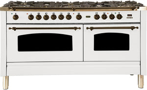 "ILVE 60"" Nostalgie Series Double Oven Propane Gas Burner and Electric Oven Range in White with Bronze Trim, UPN150FDMPBYLP"