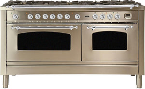"ILVE 60"" Nostalgie Series Double Oven Propane Gas Burner and Electric Oven Range in Stainless Steel with Chrome Trim, UPN150FDMPIXLP"