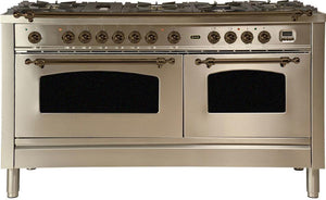 "ILVE 60"" Nostalgie Series Double Oven Natural Gas Burner and Electric Oven Range in Stainless Steel with Bronze Trim, UPN150FDMPIYNG"