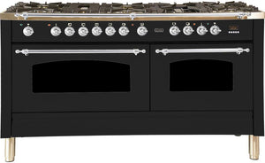 "ILVE 60"" Nostalgie Series Double Oven Propane Gas Burner and Electric Oven Range in Matte Graphite with Chrome Trim, UPN150FDMPMXLP"