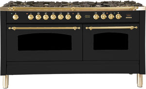 "ILVE 60"" Nostalgie Series Double Oven Natural Gas Burner and Electric Oven Range in Matte Graphite with Brass Trim, UPN150FDMPMNG"