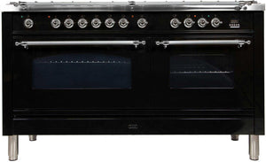 "ILVE 60"" Nostalgie Series Double Oven Propane Gas Burner and Electric Oven Range in Glossy Blackwith Chrome Trim, UPN150FDMPNXLP"