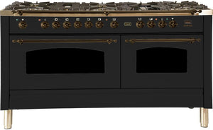 "ILVE 60"" Nostalgie Series Double Oven Propane Gas Burner and Electric Oven Range in Glossy Black with Bronze Trim, UPN150FDMPNYLP"