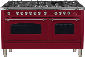"ILVE 60"" Nostalgie Series Double Oven Propane Gas Burner and Electric Oven Range in Burgundy with Chrome Trim, UPN150FDMPRBXLP"