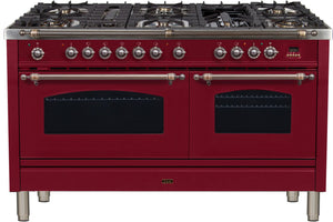 "ILVE 60"" Nostalgie Series Double Oven Propane Gas Burner and Electric Oven Range in Burgundy with Bronze Trim, UPN150FDMPRBYLP"