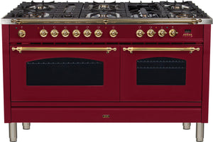 "ILVE 60"" Nostalgie Series Double Oven Natural Gas Burner and Electric Oven Range in Burgundy with Brass Trim, UPN150FDMPRBNG"