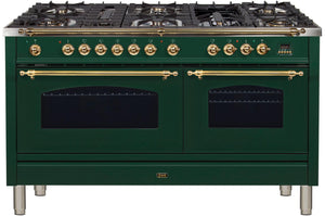 "ILVE 60"" Nostalgie Series Double Oven Propane Gas Burner and Electric Oven Range in Emerald Green with Brass Trim, UPN150FDMPVSLP"