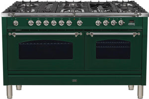 "ILVE 60"" Nostalgie Series Double Oven Propane Gas Burner and Electric Oven Range in Emerald Green with Chrome Trim, UPN150FDMPVSXLP"