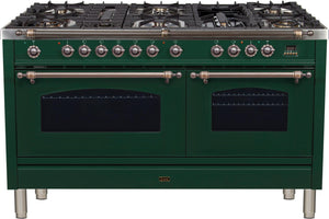 "ILVE 60"" Nostalgie Series Double Oven Natural Gas Burner and Electric Oven Range in Emerald Green with Bronze Trim, UPN150FDMPVSYNG"