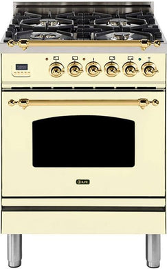 "ILVE 24"" Nostalgie Series Single Oven Propane Gas Burner and Electric Oven Range in Antique White with Brass Trim, UPN60DMPALP"